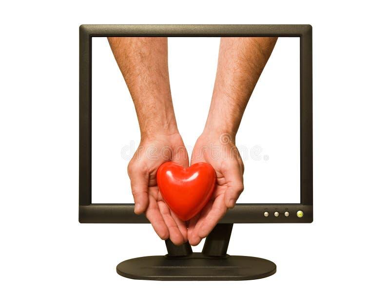 влюбленность он-лайн стоковое фото