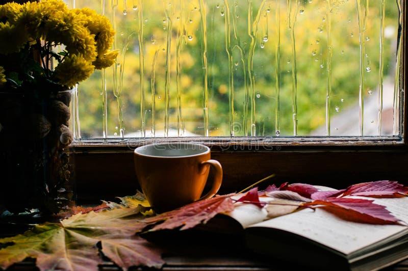 Влюбленность осени для кофе и к книгам стоковая фотография