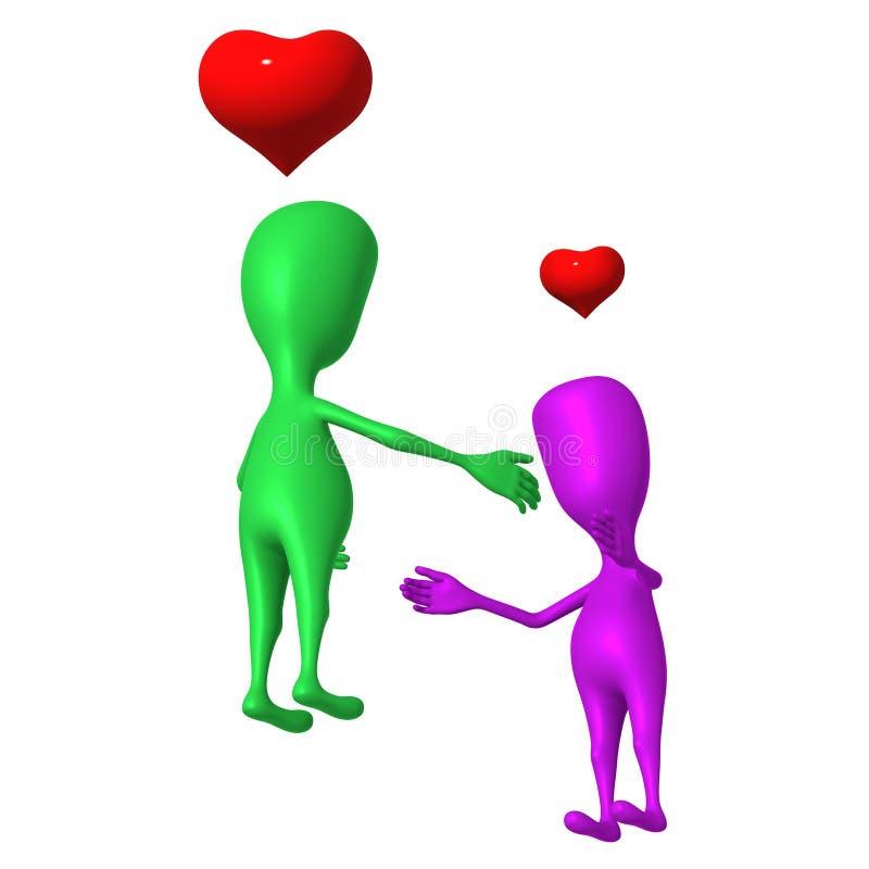 влюбленность ощупывания марионетки 3d к одину другого бесплатная иллюстрация