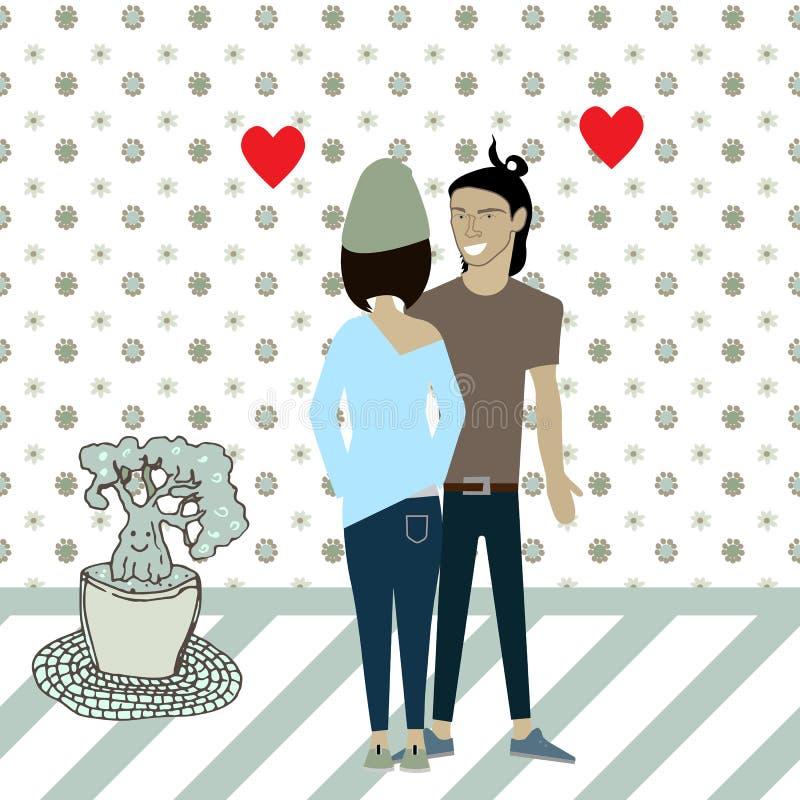 Влюбленность парня и девушки шаржа вектора иллюстрация вектора