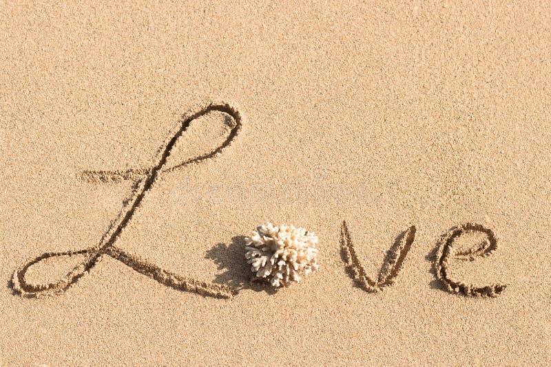 Влюбленность рукописная на тропическом пляже стоковая фотография rf