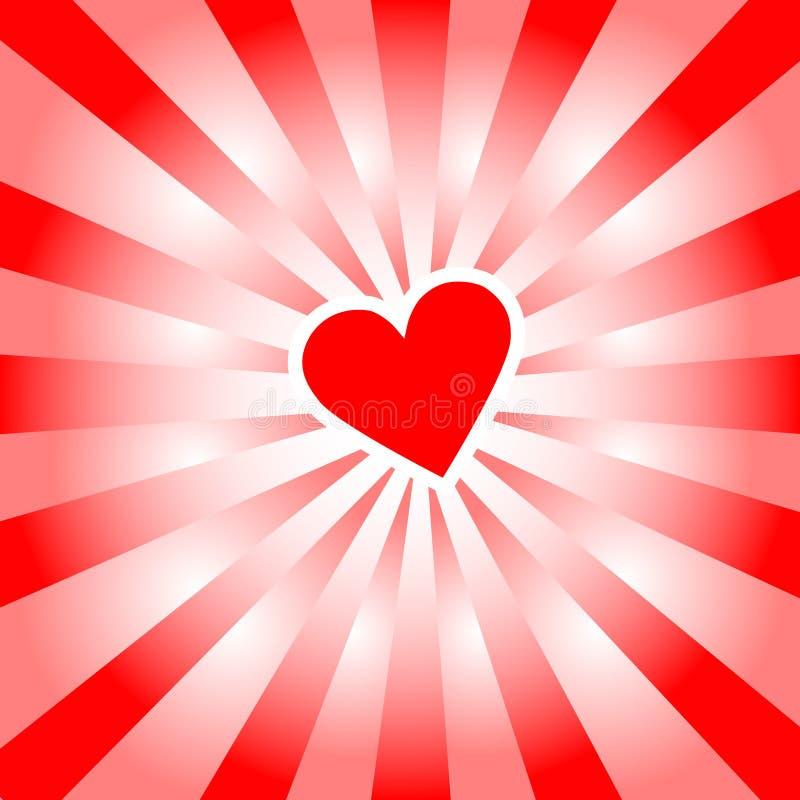 влюбленность сердца излучает Валентайн красного цвета лучей иллюстрация штока