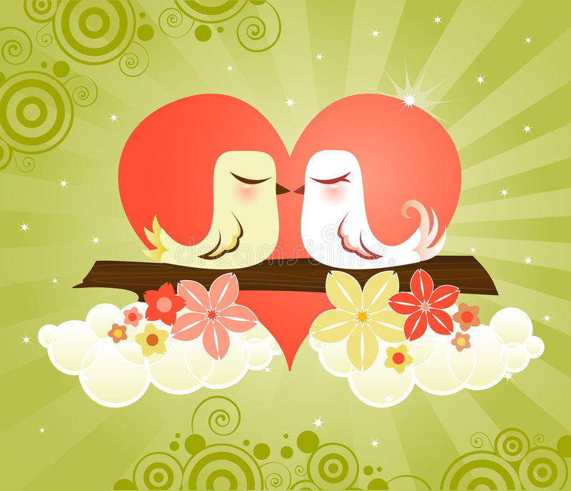 влюбленность сердца птиц иллюстрация штока