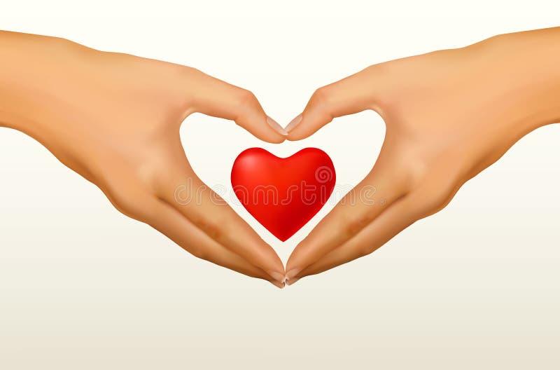 влюбленность сердца рук формы принципиальной схемы сделанная 2 иллюстрация вектора
