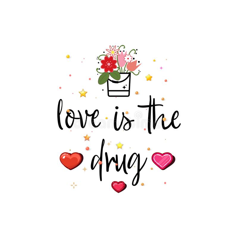Влюбленность снадобье Лозунг о любов, соответствующей как открытка дня Валентайн иллюстрация штока