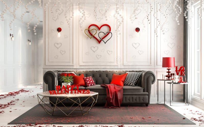 Влюбленность - современный роскошный классический интерьер на день ` s валентинки Livin стоковое изображение rf
