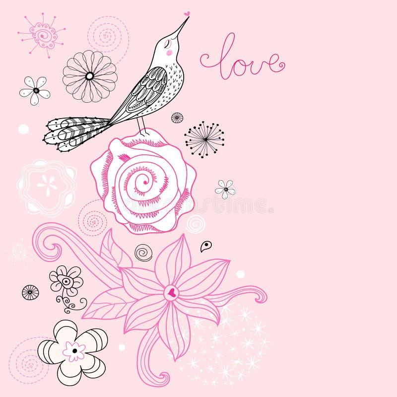 влюбленность цветка карточки птицы бесплатная иллюстрация