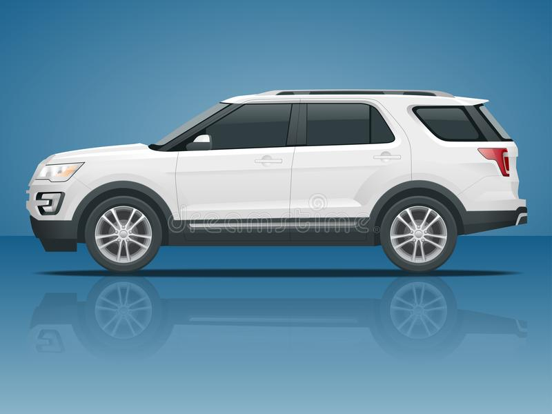 Внедорожный напишите автомобилю современный переход VIP Offroad автомобиль вектора шаблона тележки на белой стороне взгляда Измен бесплатная иллюстрация