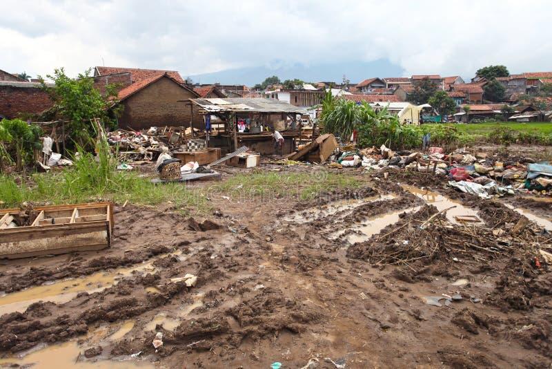 Внезапное наводнение бедствия Индонезии - Garut 027 стоковое изображение rf