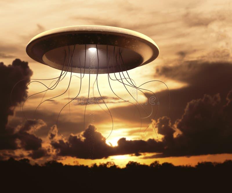 Внеземная война UFO чужеземца космического корабля стоковая фотография