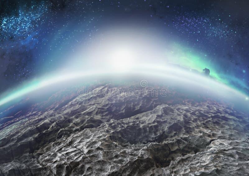 Внеземной ландшафт дистантной ледистой планеты с межзвёздными облаками стоковые изображения