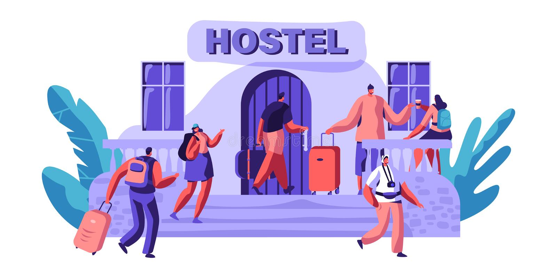Внешнее общежитие для туристского прибытия характера для города посещения Дешевое место на жить или одна ночь Альтернативный дом  бесплатная иллюстрация