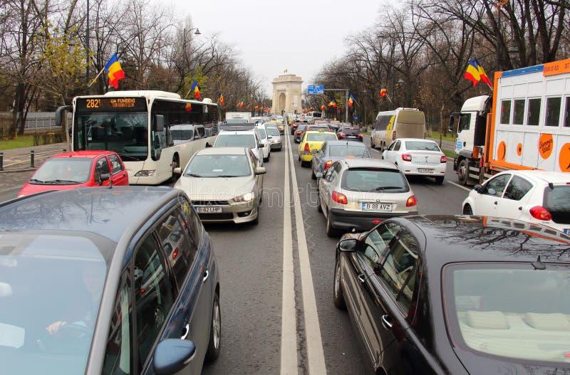 Внешние часы улицы в Бухаресте, Румынии стоковые изображения rf