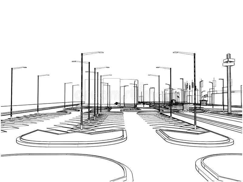 внешний вектор стоянкы автомобилей 02 иллюстрация вектора