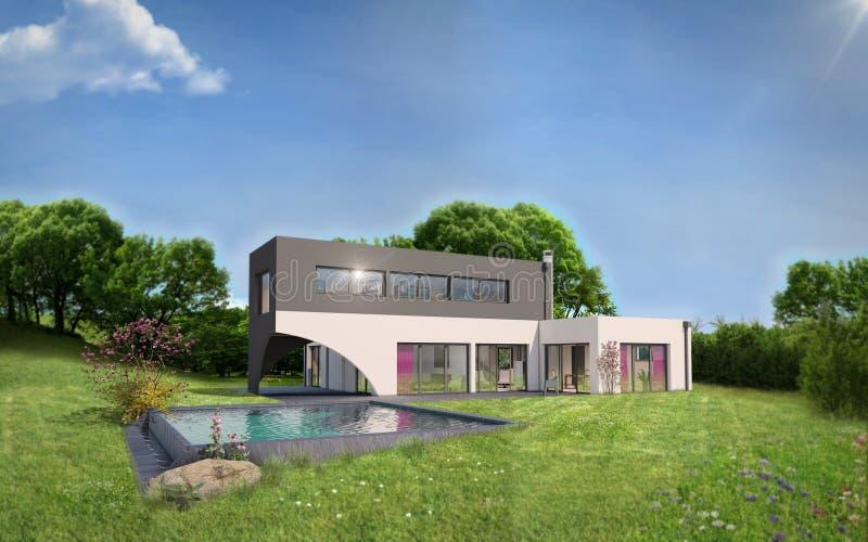 Внешний взгляд современного дома с бассейном стоковая фотография