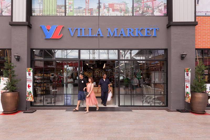 Внешний взгляд рынка виллы Рынок виллы Ла Таиланда стоковые изображения rf
