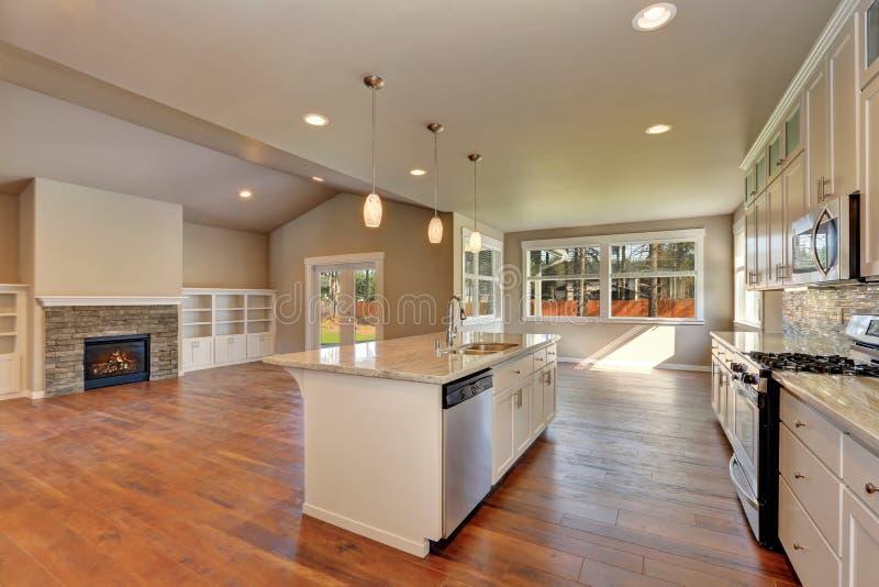 Внешний вид на роскошной современной кухне в совершенно новом доме стоковое фото