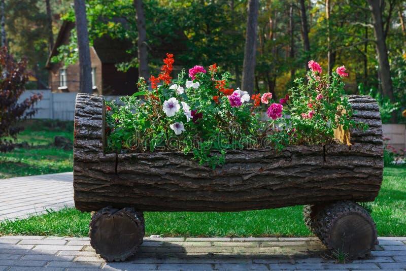 Внешний дизайн ландшафта - кровать сада с цветками стоковая фотография rf