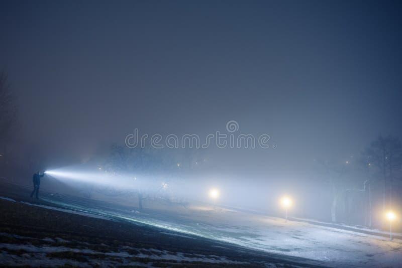 Внешний искать с электрофонарем на ноче стоковая фотография