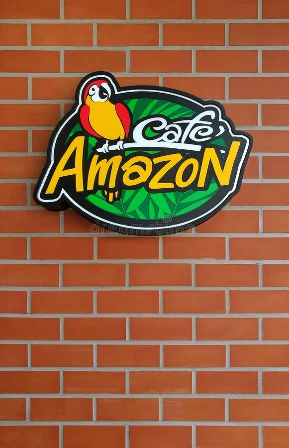 Внешний логотип бренда кафа Амазонки, Бангкока, Таиланда стоковые фото