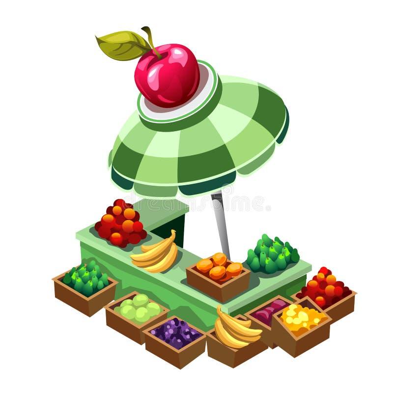 Внешний стойл продавая фрукт и овощ вектор иллюстрация вектора