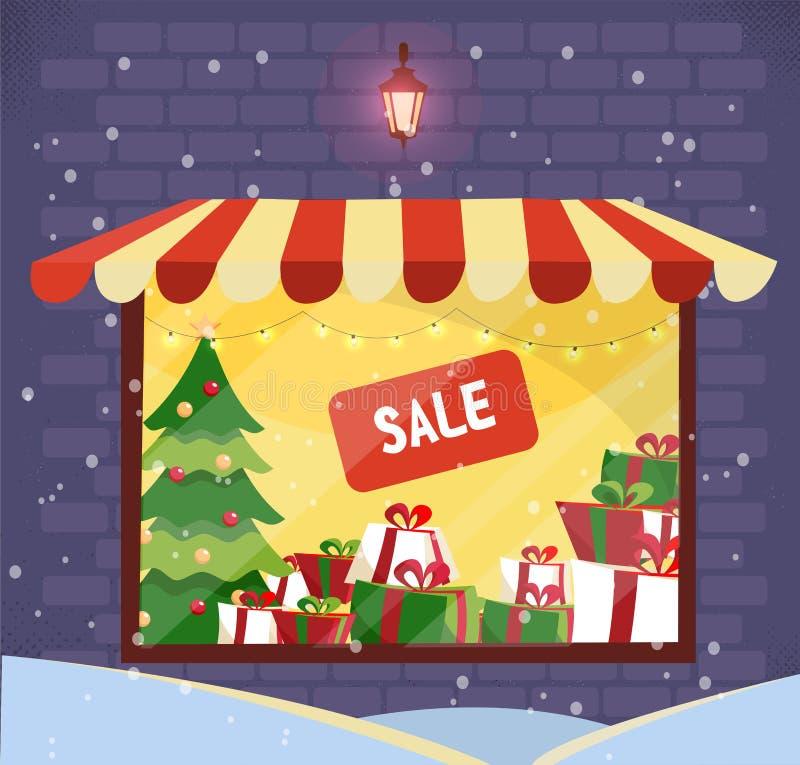 Внешняя витрина магазина с продажей подарков рождества на снежном вечере Фасад магазина Освещать окно магазина с striped сенью в  иллюстрация штока