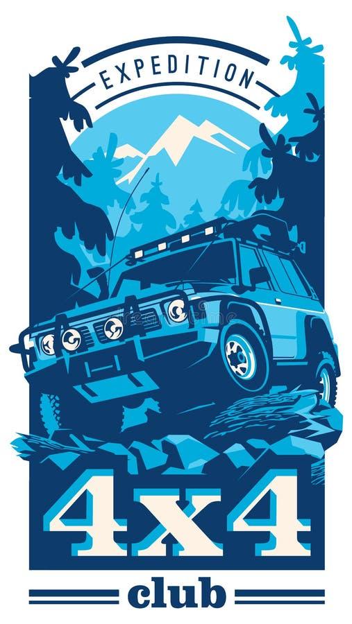Внедорожный логотип автомобиля, suv сафари, offroader экспедиции бесплатная иллюстрация