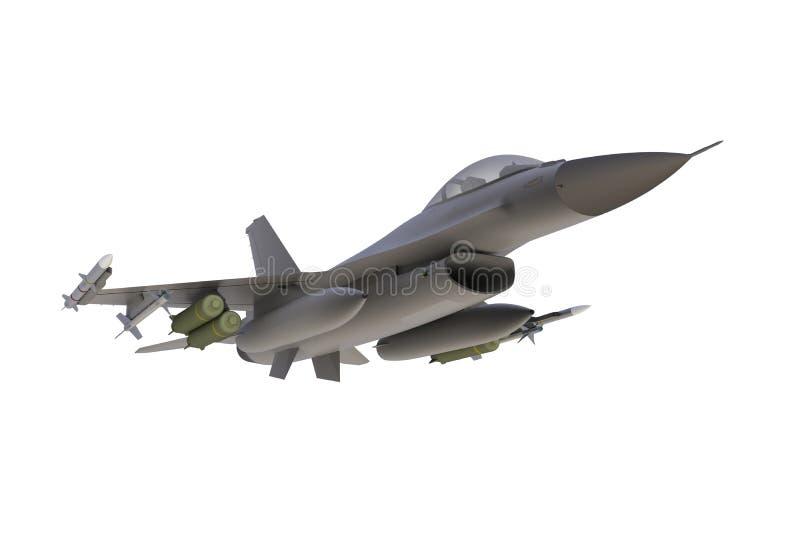 Внизу взгляд F16, американского военного штурмовика на белой предпосылке иллюстрация вектора