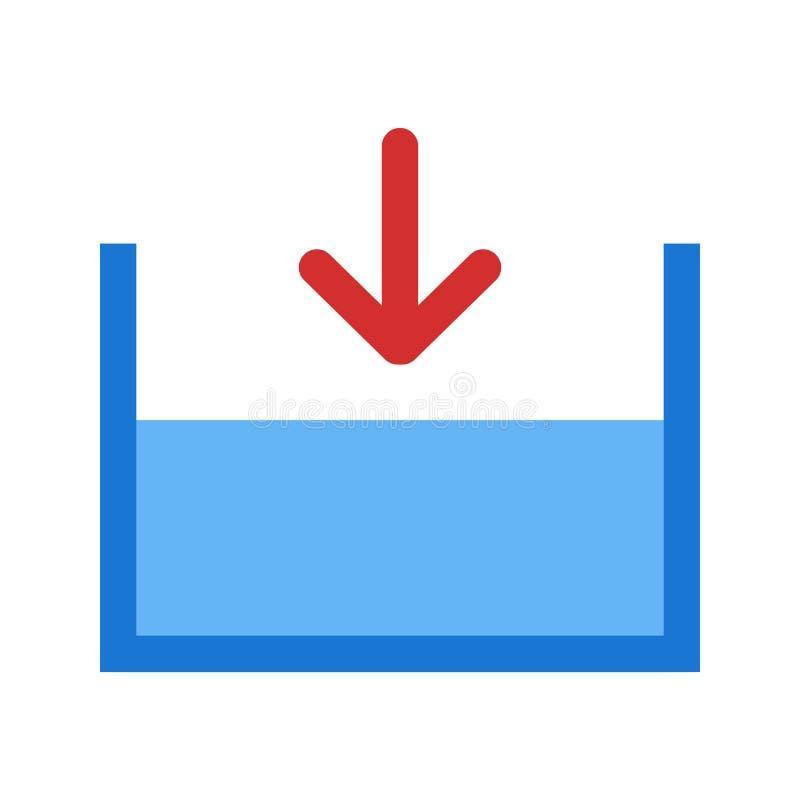 Внизу на уровне моря значок вектора иллюстрация штока