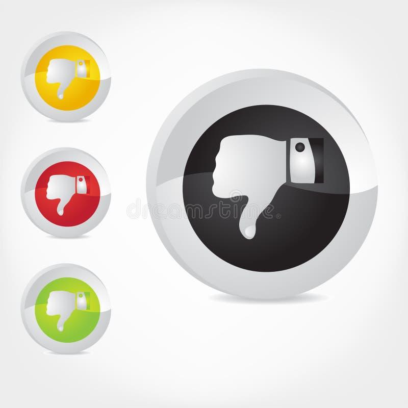 вниз большой пец руки иконы жеста иллюстрация вектора