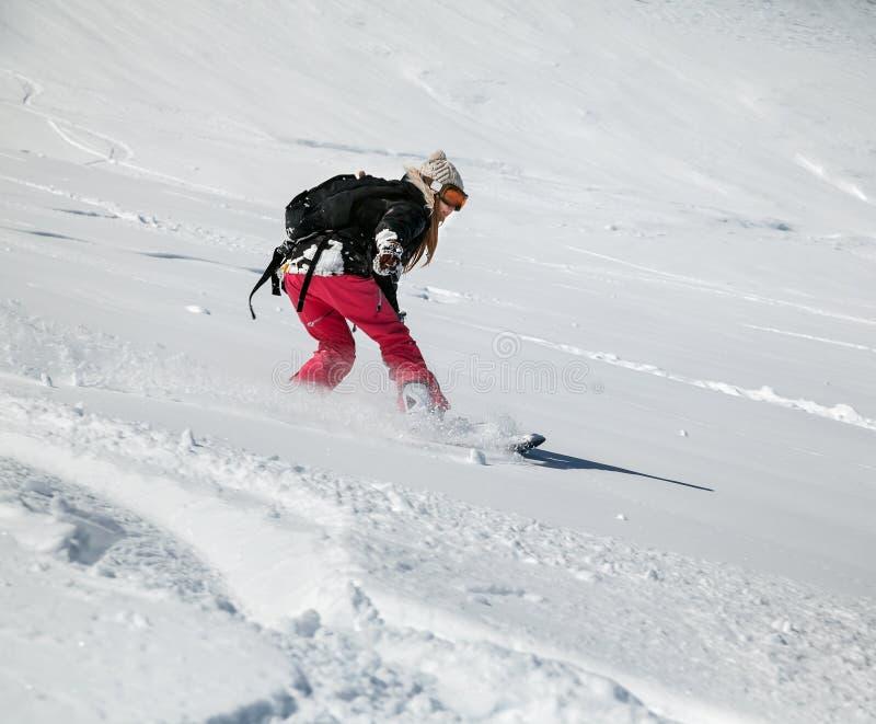 вниз двигая snowboarder стоковые фотографии rf