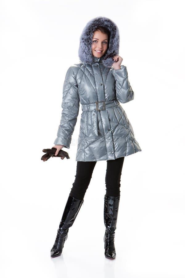 вниз женщина куртки стоковое изображение