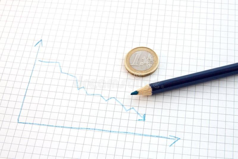 вниз идти евро стоковые фото