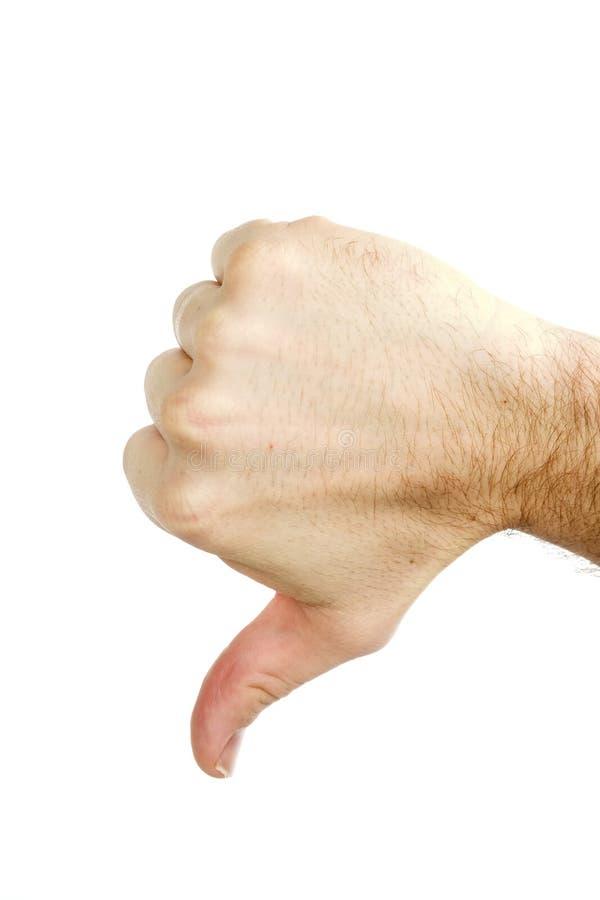 вниз изолированные большие пальцы руки стоковые фотографии rf