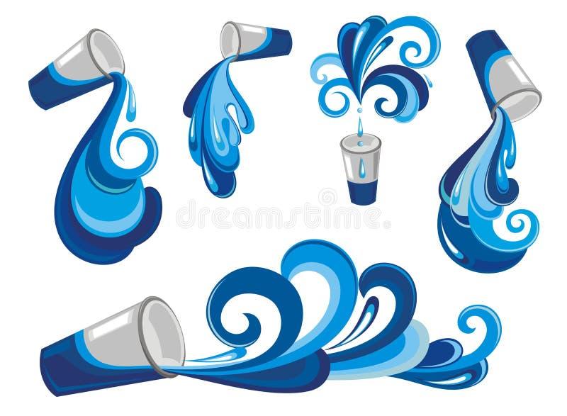 вниз питье падает стеклянная жидкостная вода движения бесплатная иллюстрация