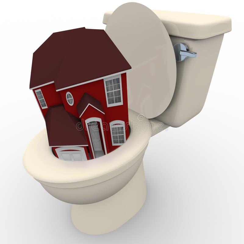 вниз понижаясь топя домашние значения туалета дома иллюстрация вектора
