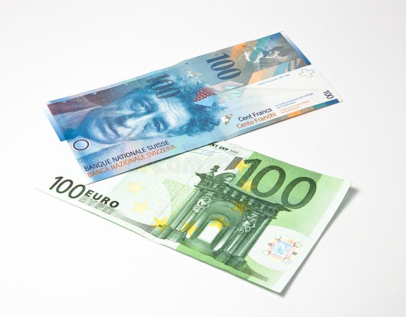 вниз франк евро вверх стоковая фотография rf