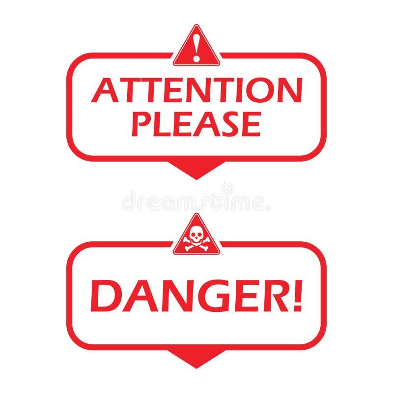 Внимание пожалуйста и опасность Значок с значком опасности Плоская иллюстрация вектора на белой предпосылке иллюстрация штока