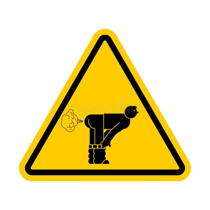 Внимание пукает Предупреждая желтый дорожный знак Предостерегите пукать иллюстрация штока