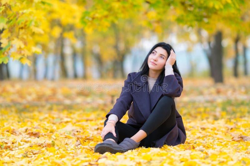 Внимательная молодая женщина сидя на том основании среди листьев осени в лесистом парке вытаращить вверх в воздух с серьезным стоковое фото rf