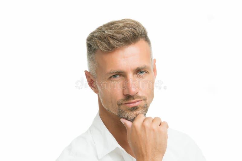 Внимательное выражение стороны Grizzle волосы одевают он Волосы на лице человека красивые хорошие выхоленные Концепция парикмахер стоковое фото rf