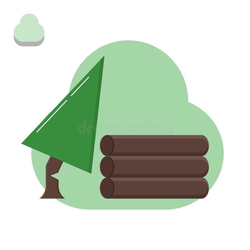 Вносить в журнал, режа дерево для продажи, дерево, древесина, экологическое ухудшение иллюстрация штока