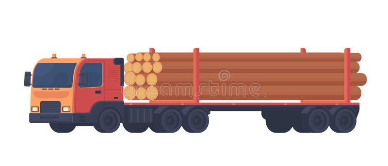 Внося в журнал тележка изолированная на белой предпосылке Тележка с трейлером для транспорта продуктов необработанной древесины и иллюстрация вектора