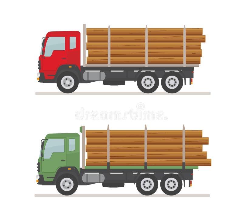 2 внося в журнал тележки на дороге r Деревянные продукция и лесохозяйство иллюстрация вектора