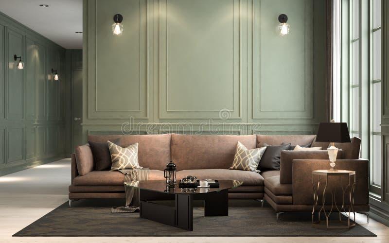 Внутреннее классическое прожитие, ретро классический стиль, с свободным furni иллюстрация штока
