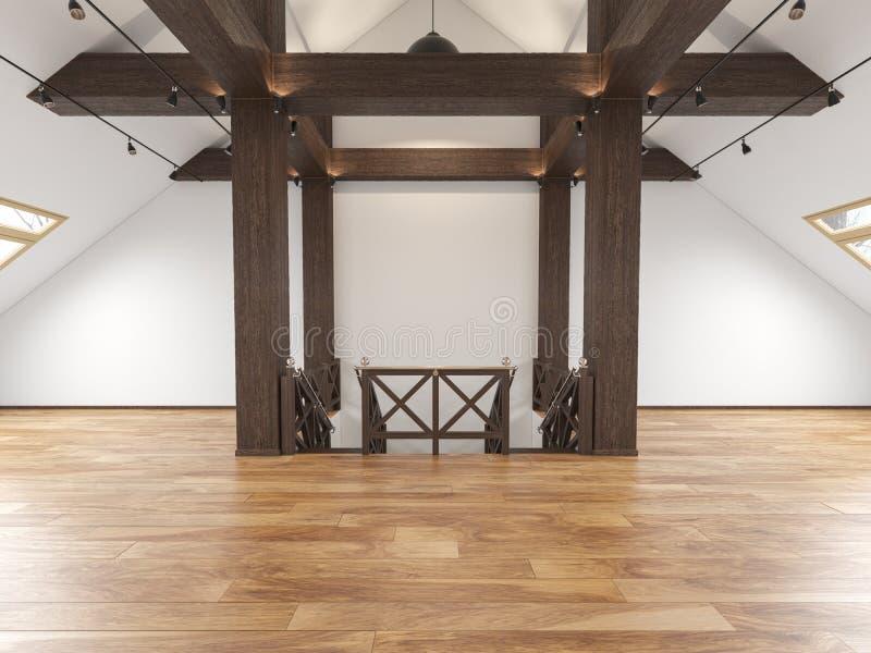 Внутреннее открытого пространства просторной квартиры чердака пустое с лучами, окнами, лестницей, деревянным полом иллюстрация вектора