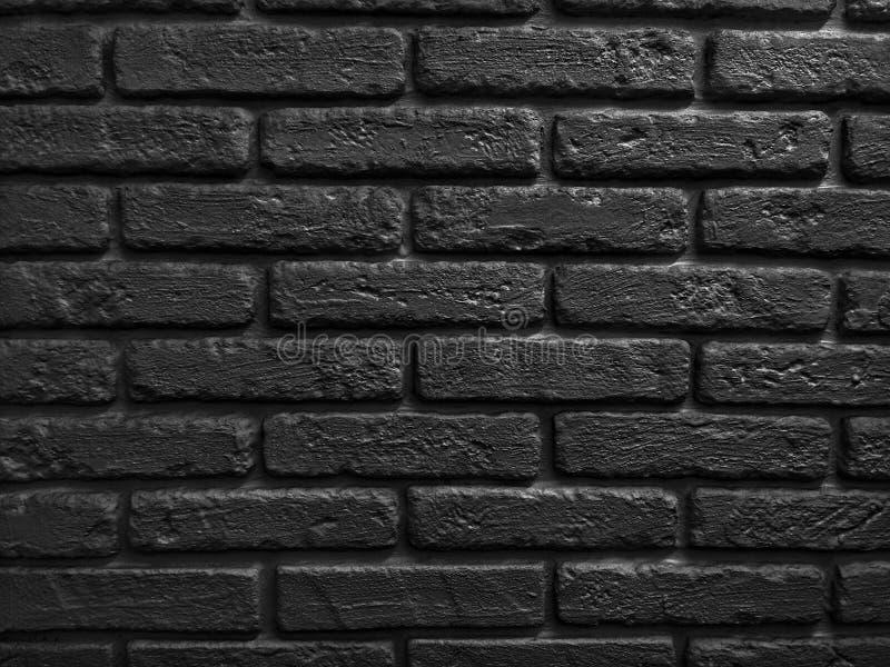 Внутреннее художественное оформление Черная кирпичная стена стоковые фотографии rf