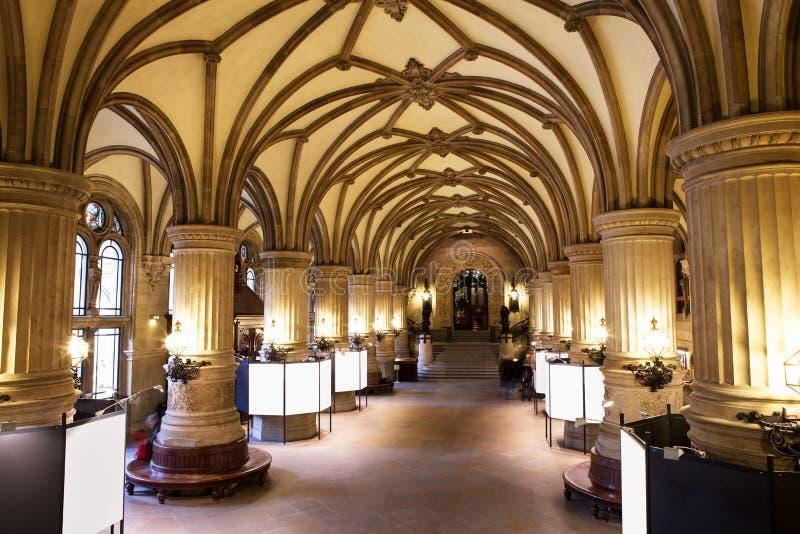 Внутреннее Rathaus (ратуша), Гамбург, стоковая фотография