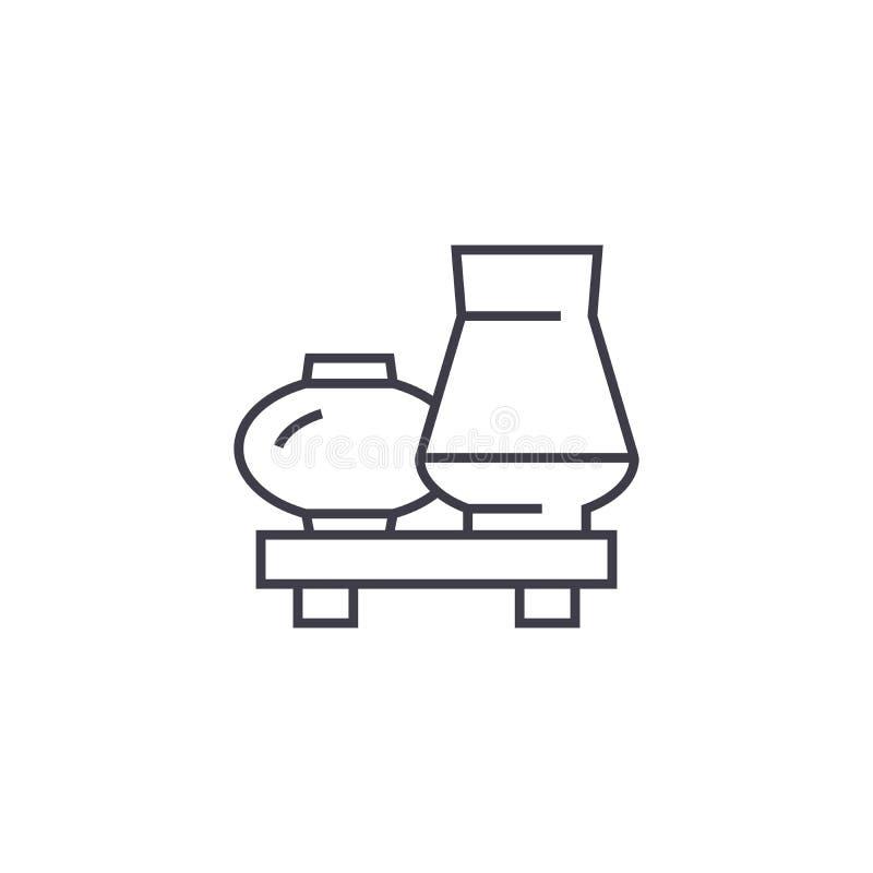 Внутренние вазы vector линия значок, знак, иллюстрация на предпосылке, editable ходах иллюстрация штока