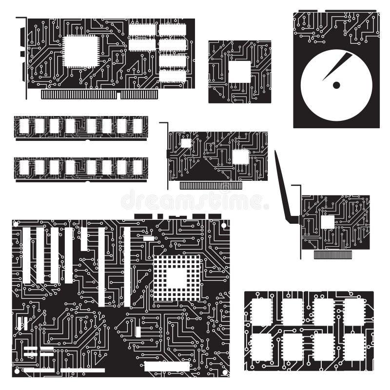 Внутренние компоненты и цепи настольного компьютера бесплатная иллюстрация